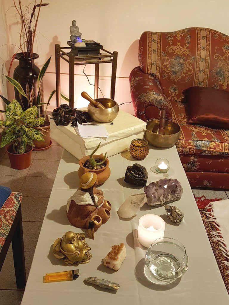 elementos del altar de meditación